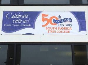 South Florida State College's vinyl banner for their 50th anniversary.